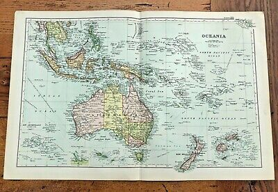 1890 large double page map - g.w. bacon london . oceania !