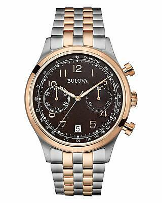 Bulova Men's 98B248 Quartz Chronograph Brown Dial Two-Tone Bracelet 43mm Watch