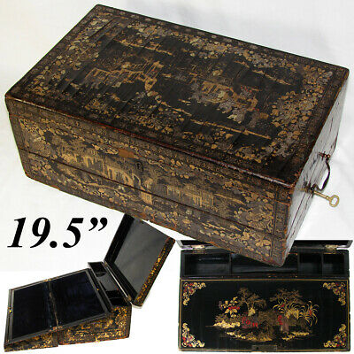 """Antique Victorian Era Chinese Export Lacquer 19.5"""" Writer Chest, Lap Desk, Gold"""