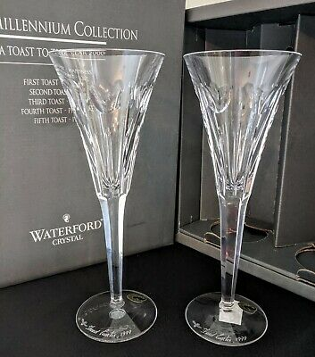 Waterford Crystal Millennium LOVE Champagne Toasting Flute 2 Signed Fred Curtis