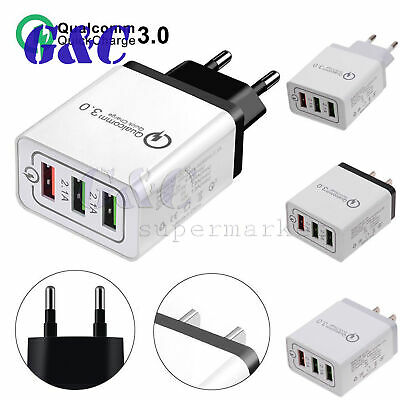 QC 3.0 Fast Quick Charge USB 3 Ports Hub Wall Charger Power Adapter US EU Plug
