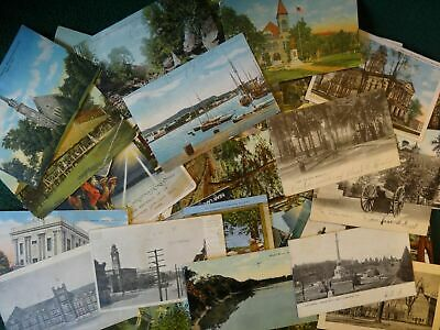 LOT OF 50 VINTAGE POSTCARDS .USA , USED & UNUSED ~1900s TO 1960s ~ 55 CARDS !!