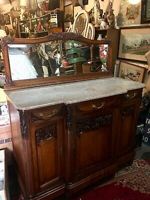 Antique French Art Deco Marble Top Buffet 1930's Ship Ok Zip ??$$