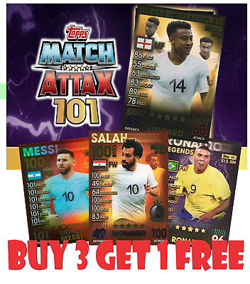 Match Attax 101 2019 RARE Limited Edition Gold Silver Bronze 100 Club Legend