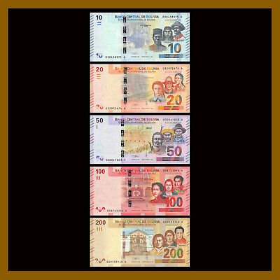 Bolivia 10- 200 Bolivianos (5 Pcs Full Set), 2018-2019 P- / / / / 50 low serial