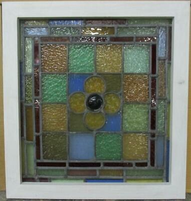 """VICTORIAN ENGLISH LEAD STAINED GLASS WINDOW Colorful Bordered Floral 18.5"""" x 20"""""""