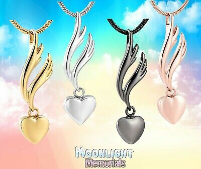 New Angel Wings Heart Urn Cremation Keepsake Ashes Memorial Necklace