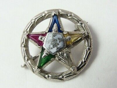 Vintage White Gold 10K Top Masonic Order of Eastern Star TINY Brooch Pin