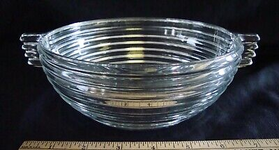 2 Vintage Art Deco Clear Pressed Glass Bowls Bee Hive Pattern