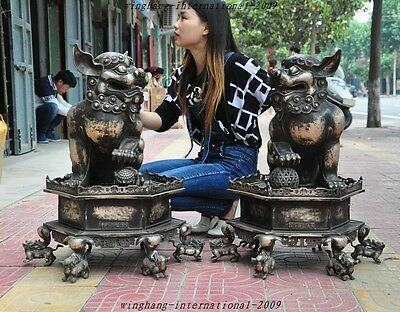 """28""""old Chinese fengshui Silver Guardian beast Foo Fu Dog Door Lion Statue Pair A"""