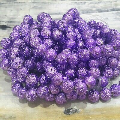 46pce Purple  Free postage Natural Lava Electroplated Bumpy  8mm Oz Seller