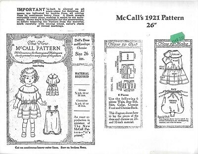 "Vintage McCall's 1921 dolls dress envelope chemise 26"" reproduction copy pattern"