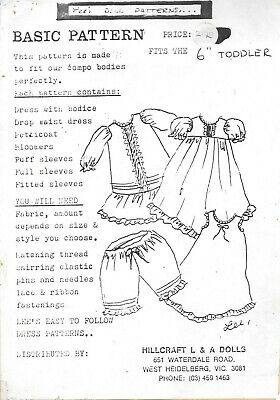 "Vintage 6"" toddler doll sewing pattern dress petticoat bloomers UNCUT"