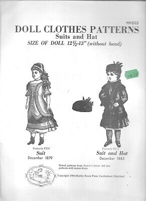 """Doll clothes sewing pattern 12-13"""" Hobby house vintage style 1879 1883 suit hat"""