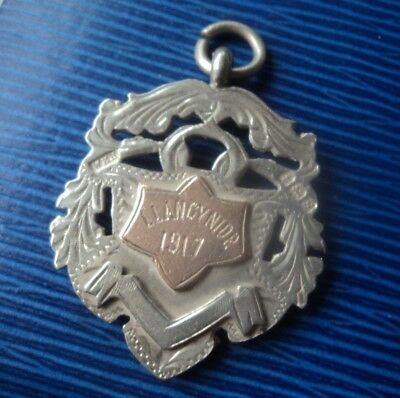 Vintage Welsh Sterling Silver & Gold Medal h/m 1917 Llangynidr Powys Wales