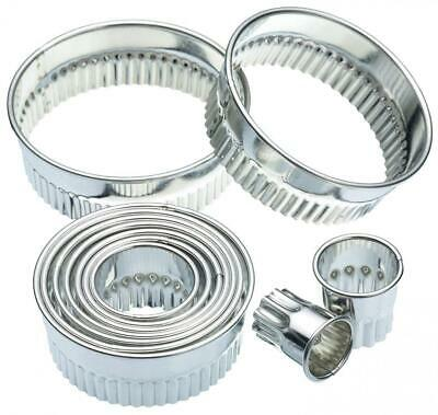 KitchenCraft Fluted Metal Biscuit / Pastry Cutters with Storage Tin (Set of...