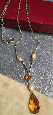 Bohemian Art Deco amber glass faux pearl WBS sterling chain Lavalier Necklace