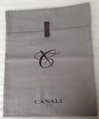 NEW Canali Dust Bag with Snap Button Grey 100% Cotton SIZE 31cm x 38cm