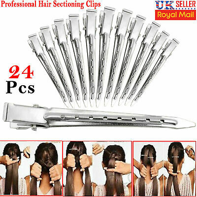 24x Hair Sectioning Clips Metal Crocodile Hairdressing Salon Grip Clamps Clip UK