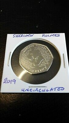 New Sherlock Holmes 2019 50p Fifty Pence Coin Rare Collectible uncirculated.