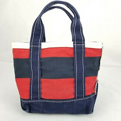 9e0c70be87 LL Bean Mini Boat and Tote Canvas Bag, Red and Blue Stripes 10