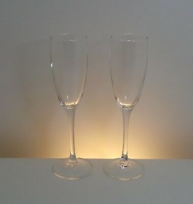 Pair of ARC Champagne Flutes Glasses, Clear Glass, Long Stemmed 22cm High 150ml