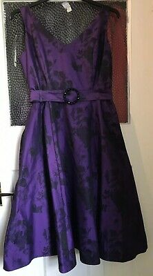 Phase Eight Dress Size 14 Floral 50s Fit and Flare Purple Black Occasion Wedding