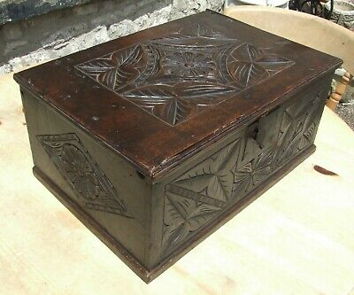 Antique carved oak BIBLE BOX 18th Century