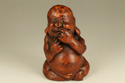 unique Chinese old bamboo root hand carved boy statue netsuke