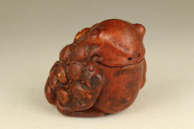 unique Chinese old bamboo statue carved frog statue netsuke