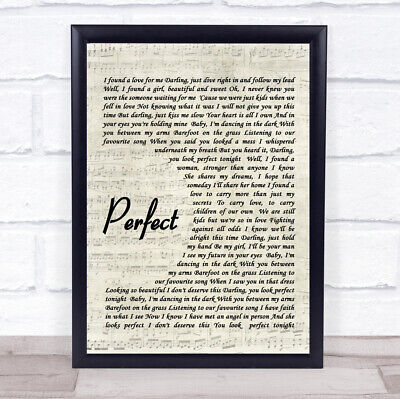 Perfect Quote Song Lyric Print