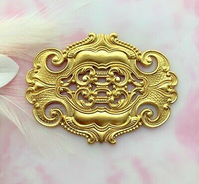 BRASS Large Oval Scroll Ornate Stampings ~ Jewelry Finding (C-1004)