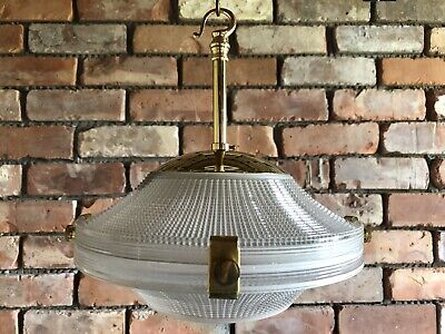 Antique Edwardian Art Deco Holophane Lamp Shade Prismatic Pendant Light Vintage