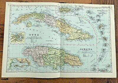 1890 large double page map - g.w. bacon  . cuba & jamaica  !