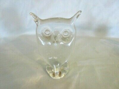 "Vintage Rainbow Art Glass 4 1/2"" Owl Paperweight Hand Blown Clear Glass  W Va"