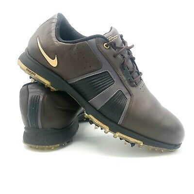 new arrival dfeb1 2ac68 Mens Waterproof Leather Nike Zoom Trophy Golf Shoes Sz US 11.5 Brown Gold  Black