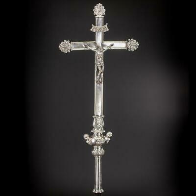 Crucifix Processional Bronze Antique Church Cross Silver Plate Jesus Christ 30""
