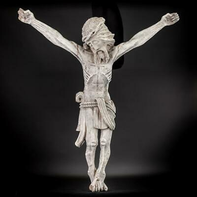 Corpus Christi Sculpture | Christ Wooden Statue | Antique 1700s Carved Jesus 36""