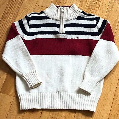 7c00fc90 Tommy Hilfiger Toddler Boys Red, White & Blue Half Zip Sweater 3T New With  Tags