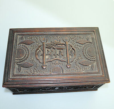 Antique Oriental : a large Chinese carved Box C.1900+