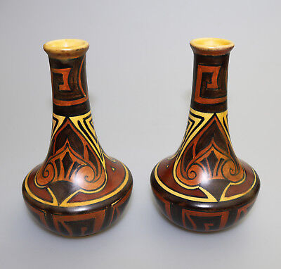 Antique British Art Deco Pottery: Good pair of Clews & Co Chameleon Vases C.1920