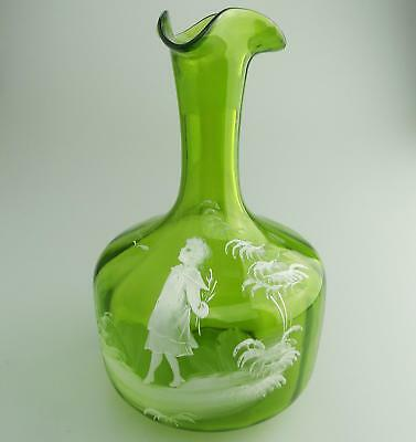 Antique Victorian Coloured Glass   A green Mary Gregory girl Decanter C.19thC