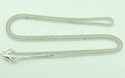 2.90 grams 14k solid white gold foxtail wheat chain necklace 22  inches #3528
