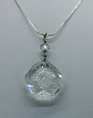 Vintage Cut crystal Glass Art Deco Antique Sterling Silver Pendant & chain rock
