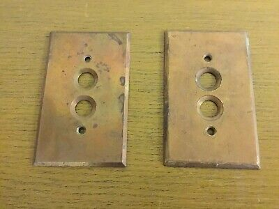 Pair Of Antique Vintage Copper Push Button Light Switch Cover Plate