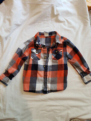 Boys Orange and Blue Plaid Long Sleeved Button Up Collared Shirt 24 months