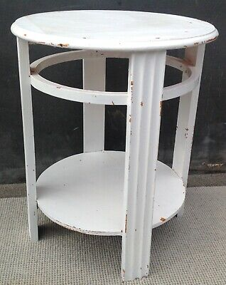 Vintage round side table for upcycling 1950s oak painted white