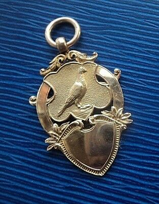 SUPER 9CT Rose Gold Pigeon Fob Medal Pendant h/m 1923  Miners Inn Homing Society