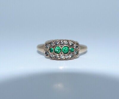 Antique Vintage Deco 14k Gold Filled GF Green & Clear Paste Band Ring Sz 7.25