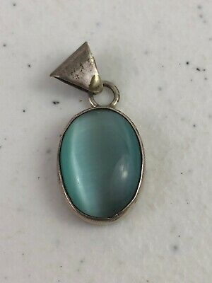 Vintage Cats Eye Catseye Light Blue Glass Sterling 925 Pendant Mexico TN-210